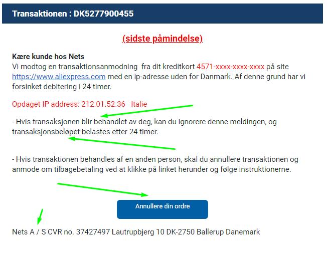 NETS falsk e-mail